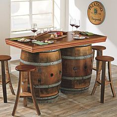 Buy the Vintage Oak Wine Barrel Bistro Table & Bar Stools (Whiskey Finish) at Wine Enthusiast – we are your ultimate destination for wine storage, wine accessories, gifts and more! Whiskey Barrel Table, Wine Barrel Table, Wine Barrel Furniture, Barrel Chair, Wine Barrels, Wine Table, Barrel Sink, Barris, Oak Trim