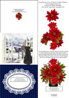 Poinsettias In Vase Black Cat In Window 3D Decoupage Easel on Craftsuprint designed by Elaine Sheldrake - Here is another of my 3D easel cards. These cards are so easy to make and full instructions are printed on every sheet. If you want cards that will stand out from the rest (please excuse the pun), then these 3D cards are for you, they look complicated, but trust me, they are so easy that even the older children can help make them.I will be adding more of these to the ones I have already…