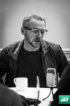 Simon Pegg in San Francisco. You guys, it's those GLASSES again.