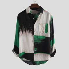 TWO-SIDED Mens Fashion Tie dyeing Colorblock Long Sleeve Cotton Loose Casual Shirt is designer and cheap on Newchic. Tie Dye Fashion, Mens Fashion, Retro Fashion, Korean Fashion, Girl Fashion, Cool Shirts, Casual Shirts, Half Sleeve Shirts, Outfits Hombre