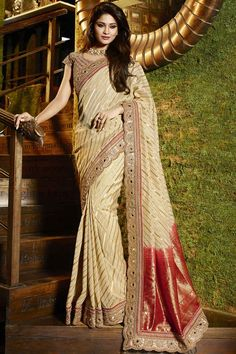 #Beige And #Red Kasab Georgette Designer #Saree For more details Inbox us @ +91 9328207190