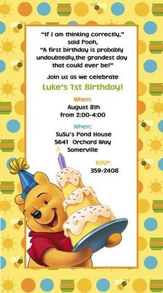 Winnie the Pooh Invitations Birthday by SuzansDesigns on Etsy, $0.50
