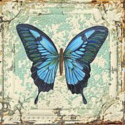 Lovely Blue Butterfly On Tin Tile Print by Jean Plout