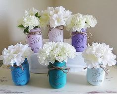 Teal and Purple Princess Mason Jars Mason Jars by MyHeartByHand