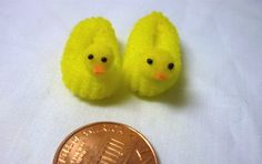 yellow ducky slippers dollhouse miniature 1/12 scale for doll house, printers drawer, knick knack shelf