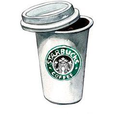 Starbucks Coffee art print - coffee kitchen decor, Kitchen Art Print - Watercolor Illustration
