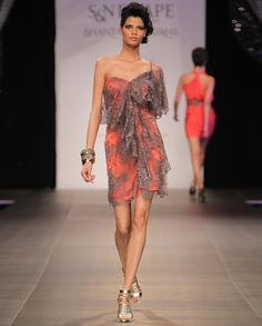 Coral Dress with Lace Overlay  by Shantanu & Nikhil