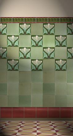 Verlegebeispiel F 158 V1, verlegebeispiel, f, 158, v1, art, nouveau, tiles, samples, wall, decorated
