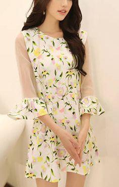O-neck Half Sleeves Chiffon Floral Dress