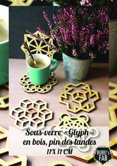 Dessous de Verre  Glyph géométrique en bois découpé à par bubusfab