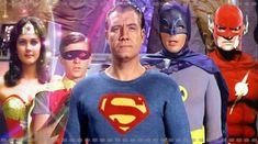 The Justice League. George Reeves as Superman, Adam West as Batman, Burt Ward as Robin, Linda Carter as Wonder Woman, and John Wesley Shipp as The Flash. John Wesley Shipp, Linda Carter, Dc Comics, Comic Book Characters, Comic Book Heroes, Comic Books, Fictional Characters, Justice League, Supergirl
