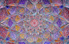Ceiling artwork at Wazir Khan mosque, Lahore, Pakistan