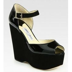 Jimmy Choo Folly Suede and Patent Leather Wedge Sandals