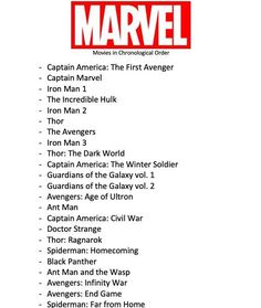 Marvel Movies in Chronological Order up to 2019 - Bucket List Your Welcome - Mar .Marvel Movies in Chronological Order up to 2019 - Bucket List Your Welcome - Marvel Universe marveluniverse Marvel Movies in Marvel Order, Avengers Movies In Order, Marvel Movies List, Netflix Movie List, Marvel Avengers Movies, Netflix Movies To Watch, Movie To Watch List, Marvel Jokes, Marvel Heroes