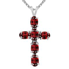Orchid Jewelry 925 Sterling Silver 3 8/9 Carat Garnet Oval Cross Necklace