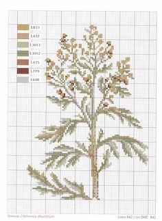 Artemisia absinthium, a. wormwood (This is the stuff traditionally used to flavor absinthe. Cross Stitch Kitchen, Just Cross Stitch, Cross Stitch Flowers, Cross Stitch Charts, Cross Stitch Patterns, Cross Stitching, Cross Stitch Embroidery, Embroidery Patterns, Blackwork