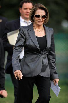 Nancy Pelosi& Best Looks, Courtesy of Her Husband-Stylist Work Fashion, Fashion Outfits, Womens Fashion, Signature Look, Badass Women, Powerful Women, Strong Women, Role Models, Work Wear
