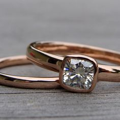 Square Cushion Cut Moissanite and Recycled 14k Rose Gold Alternative Engagement Ring Wedding Band Set, Made to Order.
