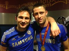 Check out @chelseafcs #SuperFrank and Gary Cahill celebrating in the changing room. #CFCAmsterdam
