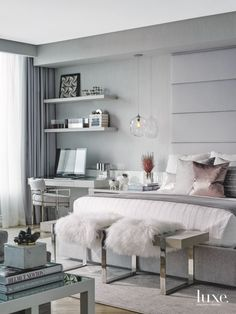 Gray Master Bedroom with Rose Gold Accent Pillow and Plush Seating