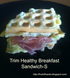 Trim Healthy Breakfast Sandwich As you may know, I love recipes with oat fiber  (NOT OAT BRAN)Today, I am going to share with you a great idea for a fabulous breakfast sandwich. But I won't tell anyone if you have this for lunch or dinner. :)  ...make the oat fiber bread into a waffle!!!