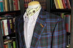 "Bold Tweed Plaid/ Windowpane Check Sport Jacket; 41- 42"" chest"