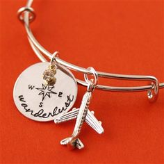 Wanderlust Alex & Ani inspired bangle bracelet... Someday when I get on a plane, I will have earned this. $25
