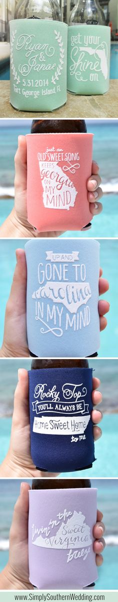 Personalized Southern State Wedding Koozies // Available in more than 30 colors! http://www.simplysouthernwedding.com/koozie-wedding-favors/