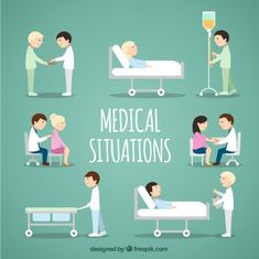 Medical Situations Collection Free Vector