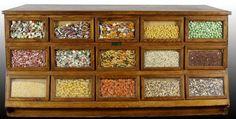 Country Store Oak Seed Bin Cabinet
