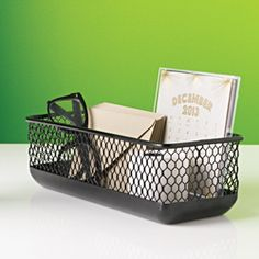 Industria Letter Bin $12  Made from stamped metal  Fits legal size envelopes, pens and pencils  Measures approximately 10.5 x 4.5 x 3.25