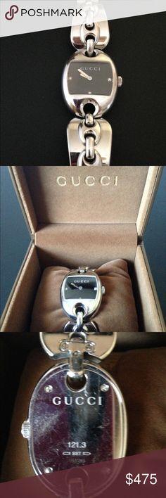$935 Gucci Ladies Watch Marina Chain 3 Diamonds Gucci watch, silver tone, case diameter is 26 millimeters, band width is 21 millimeters, Quartz, 30 meters water resistant, Gucci Accessories Watches