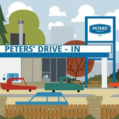 Peters' Drive-in - Calgary Landmark art print, home decor  Calgary landmark art print with a unique Mid-Century / Folk Art take. A perfect Calgary gift idea for any city lover or that poor soul that is leaving town. Purchase on www.snowalligator.com  Illustration by artist Jason Blower  #yyc #yycart #yycwallart #wallart #Calgaryart #Calgarygift #yycgift #snow_alligator  #charmingart #cuteart #midCentury #Folkart #cuteart #charmingart #yyclove