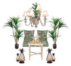"""Pineapple Patio 🍍"" by rotarybarbie ❤ liked on Polyvore featuring interior, interiors, interior design, home, home decor, interior decorating, Safavieh, TradeMark, Frontgate and Oscar de la Renta"