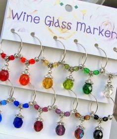 Great for friends and family gatherings.    Set of 12 Multicolored Wine Glass Markers. There are 12 different colored wine charms added to 3/4