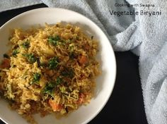 Vegetable biryani is one of my comfort lunch menu. Coconut milk is the main ingredient in this biryani which adds up the flavour & ta. Lunch Menu, Biryani, Coconut Milk, Fried Rice, Vegetarian Recipes, Vegetables, Ethnic Recipes, Food, Luncheon Menu