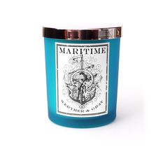 MARITIME, Soy Blend Candle, 6 oz Frosted Blue Tumbler