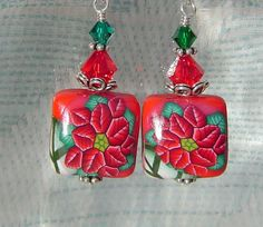 Handmade Dangle Earrings Jewelry Christmas Red Green Poinsettia Floral Polymer Clay Earrings. $10.00, via Etsy.