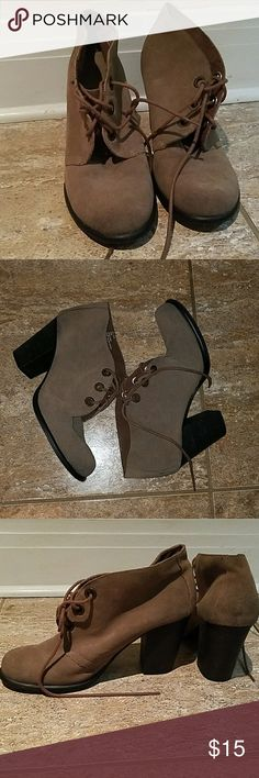 Brown Ankle Booties Lightly worn, like new. Suede with faux wooden heel MIA Shoes Ankle Boots & Booties