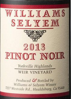 2013 Williams Selyem Pinot Noir Weir Vineyard