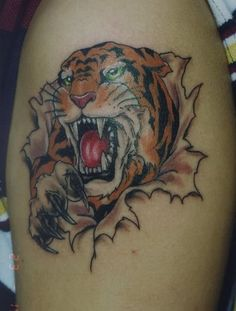 2302d2420f43a Angry Tiger Coming Out Of Skin Tattoo in 2017 Real Photo Pictures Images  and Sketches – Tattoo Collections – Great Tattoos