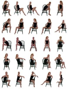 Sitting on chair female poses