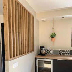 I chose to make a wooden fence to bring a warm side to my interior and to ch . Living Room Partition Design, Living Room Divider, Room Partition Designs, Home Design Plans, Home Office Design, House Design, Attic Master Bedroom, Glass Room Divider, Wooden Kitchen