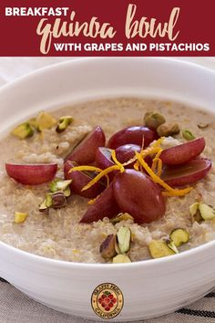 Vegetarian, healthy, and easy to make, this breakfast quinoa bowl with grapes from California and pistachios is the perfect quinoa recipe for breakfast.  #vegetarian #recipes #healthy #breakfast #easy #quinoarecipes #quinoa #quinoabowl #quinoarecipeshealthy #quinoarecipeseasy #quinoabreakfast #quinoabowlrecipes #quinoabowlvegetarian #quinoabowlshealthy #quinoabowlvegan #quinoabowlbreakfast #quinoabowlrecipesvegetarian Quinoa Breakfast Bowl, Quinoa Bowl, Breakfast Cereal, Breakfast Recipes, Dessert Recipes, Quinoa Recipes Easy, Grape Recipes, Vegetarian Recipes, Perfect Quinoa