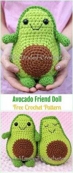 Crochet Avocado Friend Doll Free Pattern - Crochet Doll Toys Free Patterns #crochettoys
