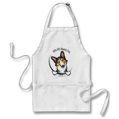 Tricolor Corgi Its All About Me Apron   Click on photo to purchase. Check out all current coupon offers and save! http://www.zazzle.com/coupons?rf=238785193994622463&tc=pin