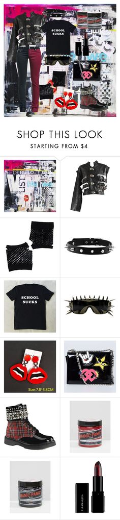 """Oh my punk style"" by freefreak ❤ liked on Polyvore featuring Forever 21, ZeroUV, Dsquared2, Demonia, Manic Panic NYC and Featherella"