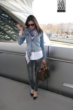 Love the denim jacket with the LV scarf