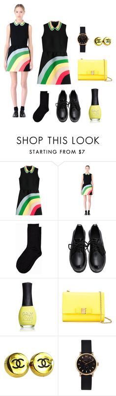 """Here comes the rainbow"" by nurrahmayarani on Polyvore featuring RED Valentino, Vero Moda, ORLY, Salvatore Ferragamo, Chanel, Marc by Marc Jacobs, women's clothing, women, female and woman"