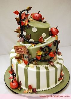 Fall season ~~ This cake is super adorable!!! Love the colors and the whimsical feel.